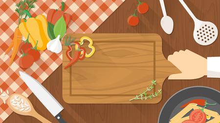 Cocina encimera de madera con el cocinero Vectores