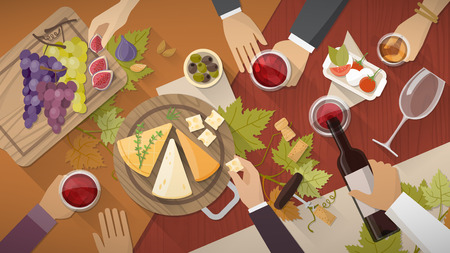 Vino y queso partido de la prueba con copas de vino, botellas de uvas y aperitivos de queso, las manos de la gente que bebe todo