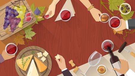 Wijn en kaas proeven feest met wijn glazen, flessen druiven en kaas hapjes, de handen van mensen drinken rondom Stock Illustratie