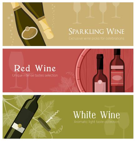 와인 배너, 흰색 빨간색과 스파클링 와인을 포함한 와인 잔, 병, 배럴, 설정 일러스트