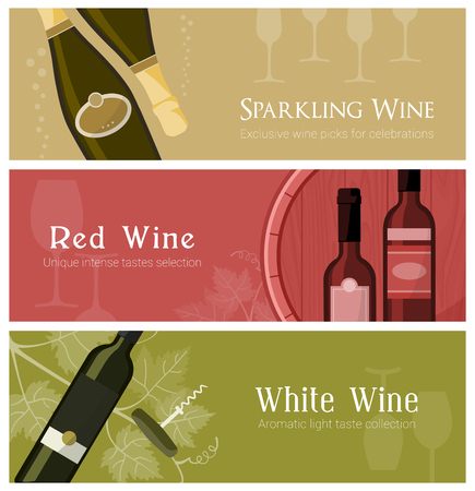 Wine banner set with wine glasses, bottles and barrel, including white, red and sparkling wine