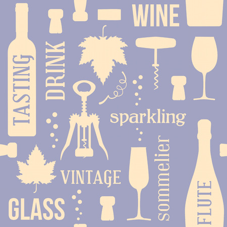 Wine and drinking vintage seamless pattern, two colors, with corks, corkscrew and vine leaf Vectores