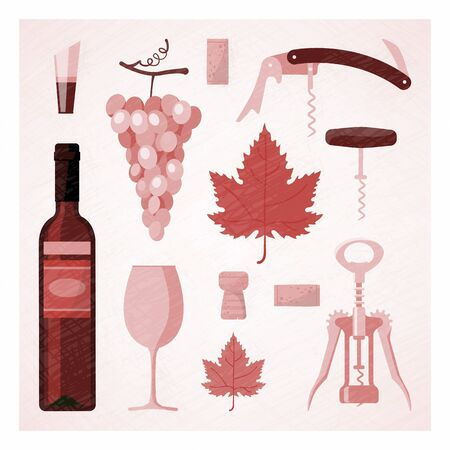 Red and rose wine vintage illustration with wine bottle, glass, vine, corks and corkscrew