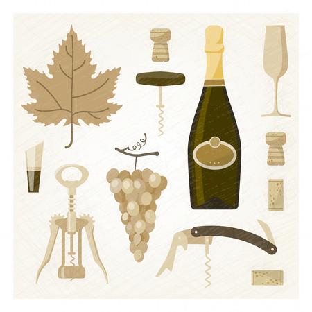 vine bottle: White wine illustration