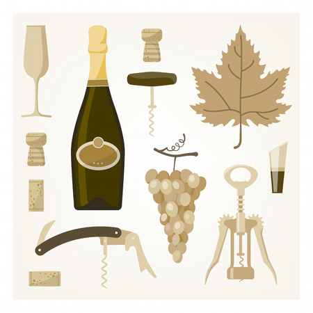corcho: Ilustración blanca del vino