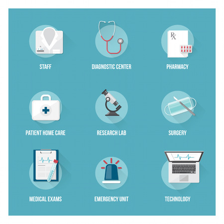 lab coat: Medical services and patient health care flat icons set with objects Illustration