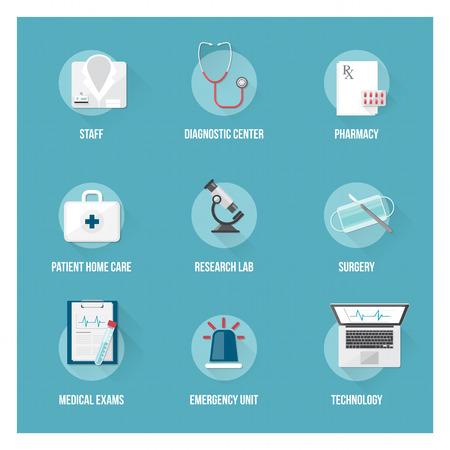 bata de laboratorio: Servicios médicos y los iconos planos de atención médica de pacientes establecidos con objetos