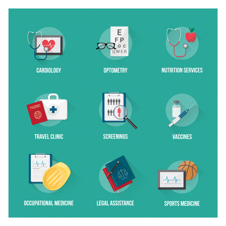 occupational: Medical services and patient health care flat icons set with objects Illustration