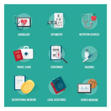 egészségügyi ellátás: Orvosi ellátás és a betegek egészségügyi lapos ikon készlet tárgyak Illusztráció