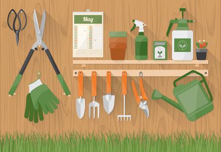 ガーデニングのツールと製品、木製の棚の上、下、趣味および diy の概念で草が付いている壁に掛かっています。