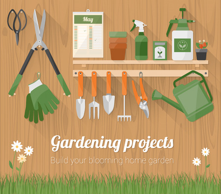 gardening equipment: Gardening tools and products on a shelf and hanging on a wooden wall with copyspace at bottom Illustration