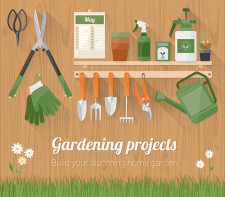 Herramientas de Jardinería y productos en una estantería y que cuelga en una pared de madera con copyspace en la parte inferior Ilustración de vector
