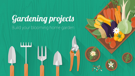 pruning shears: Home gardening banner with tools, a wooden crate with fresh tasty vegetables and flower pots, top view with copy space Illustration