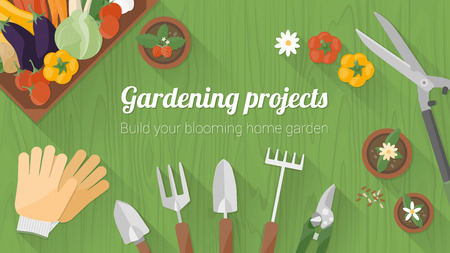 Home gardening banner with tools, a wooden crate with fresh tasty vegetables and flower pots, top view with copy space Vectores
