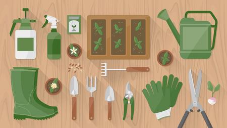 園芸工具および機器木製テーブル トップの種子と成長もやしと表示します。