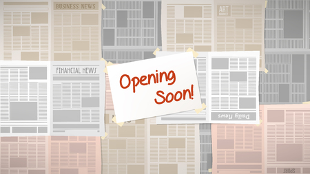 old newspapers: Old newspapers covering a shop window with opening soon sign at center