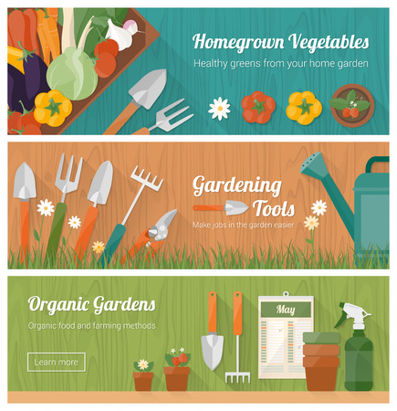 Gardening and horticulture, hobby and diy banner set with tools, vegetables crate and plants Иллюстрация