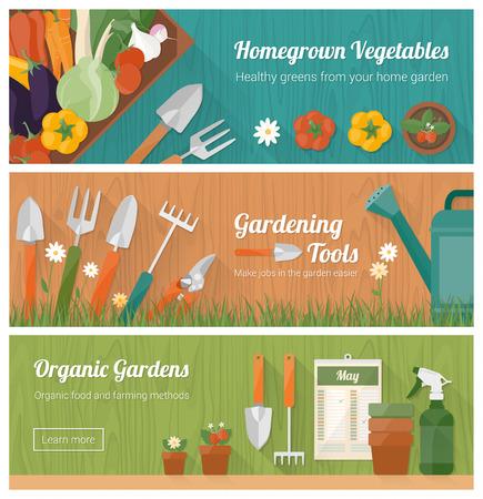 jardinero: Jardinería y horticultura, afición y la bandera de bricolaje conjunto con herramientas, verduras cajón y plantas
