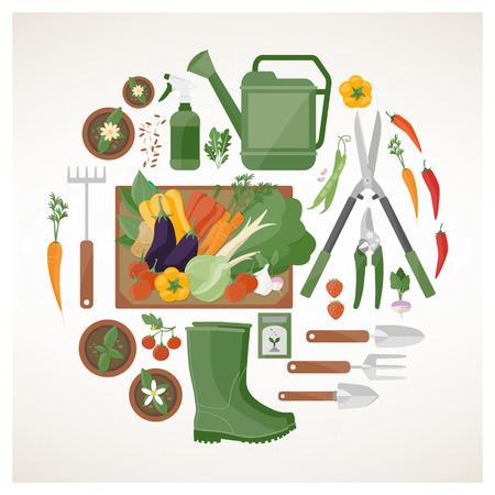 Gardening and farming concept with vegetables, flower pots and gardening tools in a circular shape