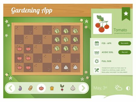 in fact: Garden planner app with vegetables nutrition sheet, rectangular garden with drag and drop vegetables icons