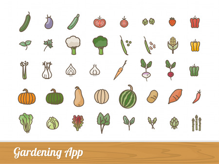 Gardening and farming app vegetables outlined icons set