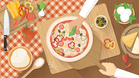 pizza dough: Chefs cooking a tasty traditional vegetables pizza, hands working top view with kitchen utensils, ingredients and wooden worktop Illustration