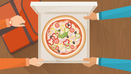 Pizza delivery service at home with delivery guy hading a box with pizza to a customer and holding a pizza bag, hands top view Illustration