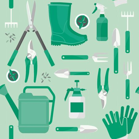 Gardening and farming work tools seamless green pattern Illustration