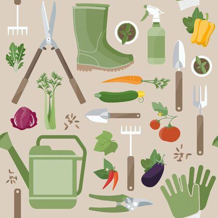 원예: 농업 및 원예 작업 도구 원예 원활한 패턴 신선한 정원 야채를 colorfu는