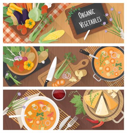 cibo: Cucinare e mangiare sano banner con gustosa ricetta della minestra e la preparazione dei cibi a casa Vettoriali