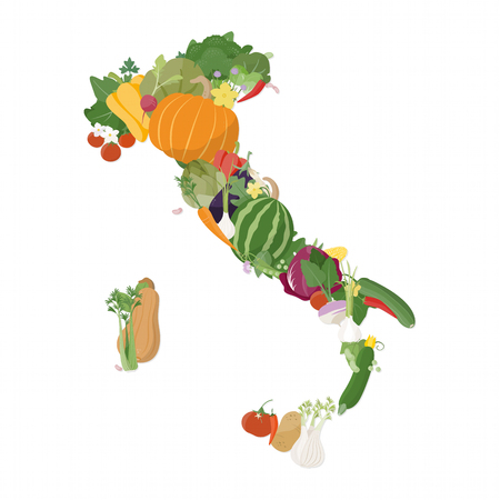 Map of Italy composed of fresh vegetables nutrition and farming concept Illustration