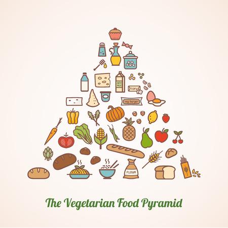 alimentacion balanceada: La pirámide alimenticia vegetariana compuesta de iconos de alimentos incluyendo granos verduras frutas lácteos fortificados alternativas lácteos y grasas añadidas Vectores