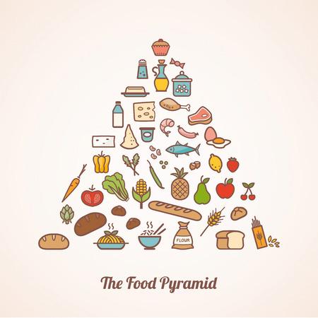 음식 아이콘으로 구성 먹이 피라미드는 과일 야채 곡물을 우유, 고기, 생선, 양념 포함 설정