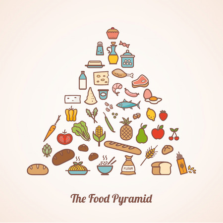 The food pyramid composed of food icons set including fruits vegetables grains dairy meat fish and condiments