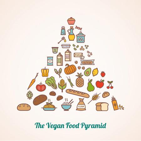 alimentacion balanceada: La pirámide alimenticia vegetariana compuesta de iconos de alimentos incluyendo granos verduras frutas fortificadas alternativas lácteos y grasas añadidas Vectores