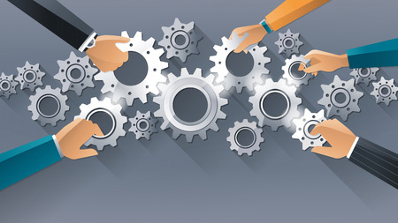 gears: Business team and teamwork concept, business people joining gears together and composing a machine Illustration