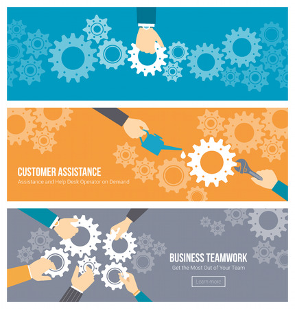 teamwork: Business teamwork, leadership and support concept, office workerss hands joining gears together, repairing and lubricating them