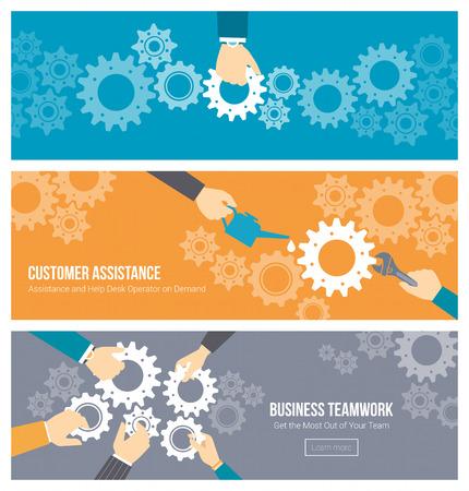 them: Lavoro di squadra di affari, la leadership e concetto di supporto, le mani ufficio di lavoratori che unisce ingranaggi insieme, riparazione e lubrificazione