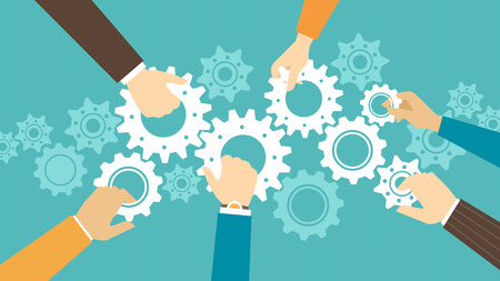 Business team and teamwork concept, business people joining gears together and composing a machine Stock Illustratie