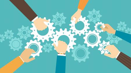 engranajes: Personas del asunto y concepto de trabajo en equipo, la gente de negocios unirse a marchas juntos y componer una m�quina Vectores