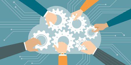 クラウドで歯車に参加するビジネスの人々 は、web やクラウド ・ コンピューティングのコンセプト  イラスト・ベクター素材