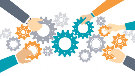 Business team and teamwork concept, business people joining gears together and composing a machine  イラスト・ベクター素材