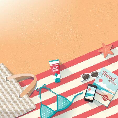 sun lotion: Accesorios de playa de moda en el concepto arena, toalla, traje de ba�o, bolsa, el tel�fono m�vil, la revista y el sol loci�n, viajes y vacaciones con espacio de copia Vectores