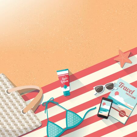 Fashion beach accessories on the sand, towel, swimming costume, bag, mobile phone, magazine and sun lotion, travel and holidays concept with copy space