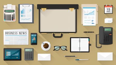 calculadora: Escritorio negocios con la cartera abierta, el papeleo, tableta, tel�fono inteligente, organizador y calculadora, vista desde arriba