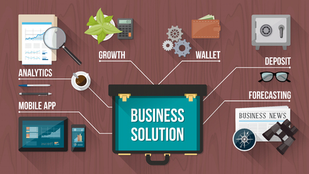 financial advisors: Business, finance and banking concepts with objects and open briefcase on a wooden desktop, top view Illustration