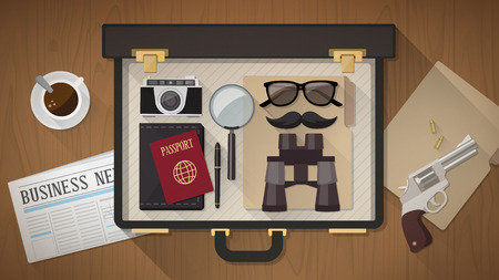 Detective vintage briefcase with camera, magnifier, sunglasses, passport, moustaches, revolver and newspaper on a desktop, top view
