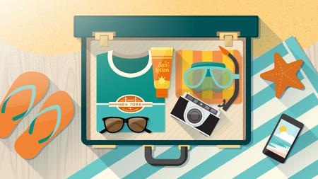 femme valise: Vacances d'été sur la plage millésime valise concept ouvert avec une serviette et lunettes de soleil T-shirt plongée salle de masque sur un plancher en bois et le sable