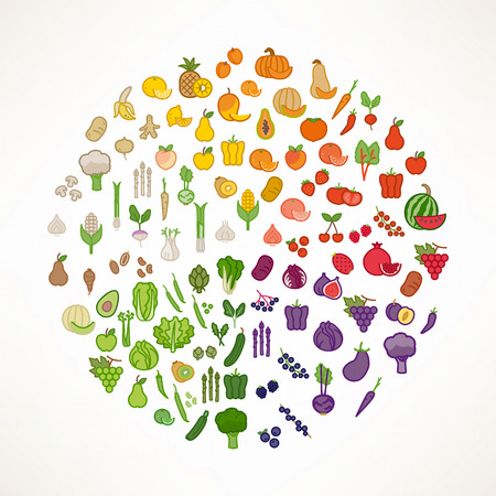 vegetables on white: Fruit and vegetables color wheel with food icons, nutrition and healthy eating concept