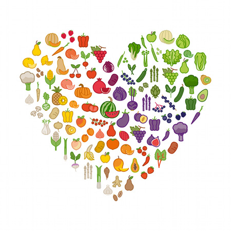 healthy meal: Vegetables and fruits in a heart shape on white background Illustration